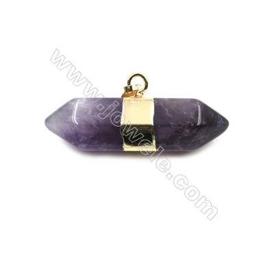 Natural Amethyst with Brass Plated Gold Pendants, Bullet(Faceted), Size 40~45x16~18mm, 5pcs/pack