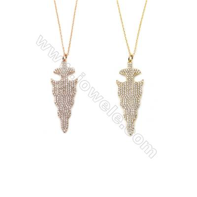 Cone Brass Cubic Zirconia Pendants Necklaces with Brass Chain, Chain 420mm, Pendant 18x49mm, x1