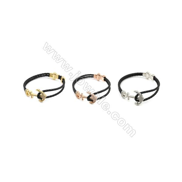 Black Leather Bracelet, with Brass Micro Pave Cubic Zirconia, Anchor Charm, 200mm, daimeter of leather 3mm, x1pc