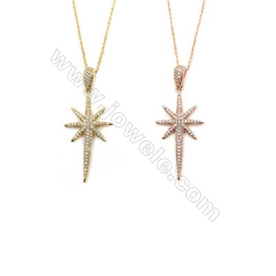 Cone & Sunflower Brass Cubic Zirconia Pendants Necklaces with Brass Chain, Chain 420mm, Pendant 20x40, x1