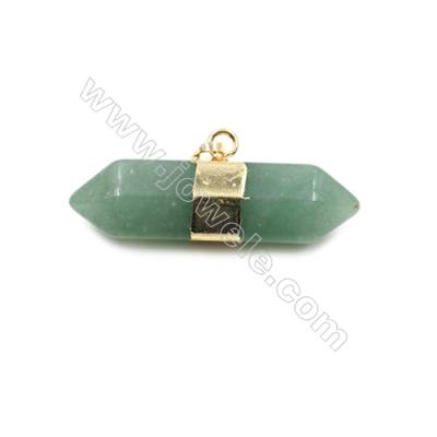 Natural Green Aventurine Gemstone with Brass Plated Gold Pendants, Bullet(Faceted), Size 40~45x16~18mm, 5pcs/pack