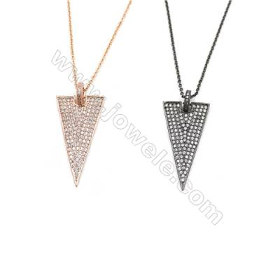 Triangle Brass Cubic Zirconia Pendants Necklaces, Chain 420mm, Pendant 18x34mm, x1
