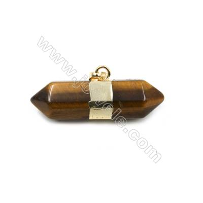 Natural Tiger's eye Gemstone with Brass Plated Gold Pendants, Bullet(Faceted), Size 40~45x16~18mm, 5pcs/pack