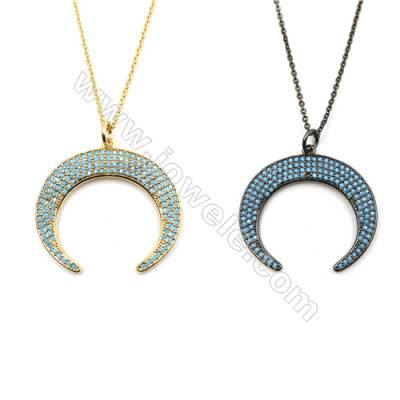 Moon Brass Cubic Zirconia Pendants Necklaces with Brass Chain, Chain 420mm, Pendant 30x33mm, x1