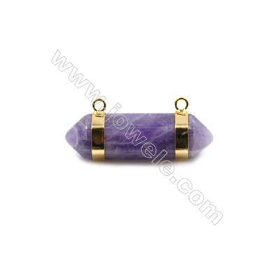 Natural Amethyst with Brass Plated Gold Connectors, Bullet(Faceted), Size 42~47x13~15mm, Hole 2mm, 4pcs/pack