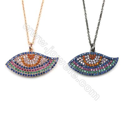 Eyes Brass Cubic Zirconia Pendants Necklaces with Brass Chain, Chain 420mm, Pendant 16x30mm, x1