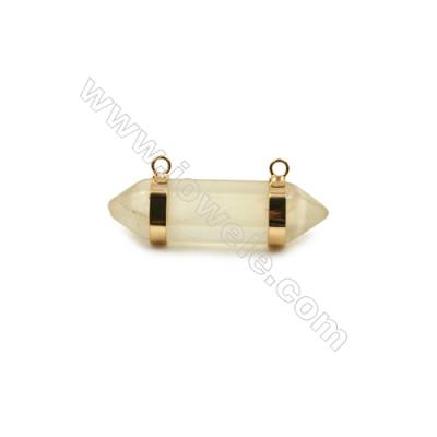 Natural Lemon Quartz with Brass Plated Gold Connectors, Bullet(Faceted), Size 42~47x13~15mm, Hole 2mm, 4pcs/pack