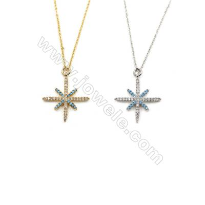 Brass Cubic Zirconia Pendants Necklaces with Brass Chain, Chain 420mm, Pendant 23x26mm, x1