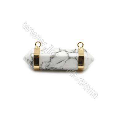 Natural Howlite Gemstone with Brass Plated Gold Connectors, Bullet(Faceted), Size 42~47x13~15mm, Hole 2mm, 4pcs/pack