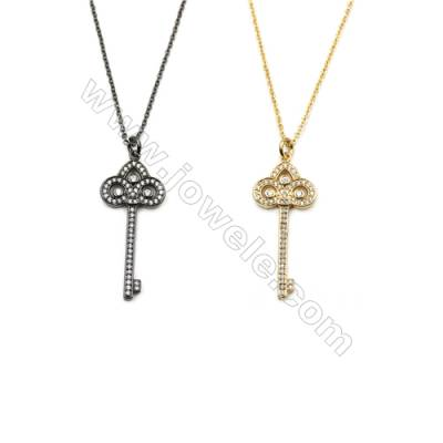 Key Brass Cubic Zirconia Pendants Necklaces with Brass Chain, Chain 420mm, Pendant 15x34mm, x1