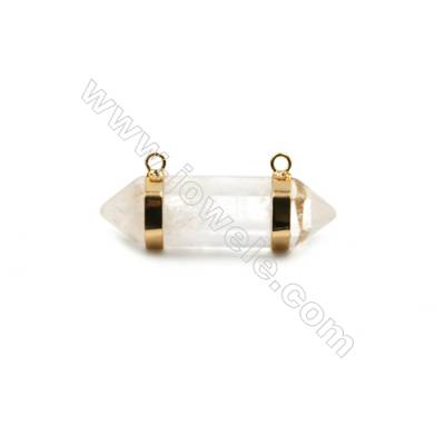 Natural Rock Crystal with Brass Plated Gold Connectors, Bullet(Faceted), Size 42~47x13~15mm, Hole 2mm, 4pcs/pack