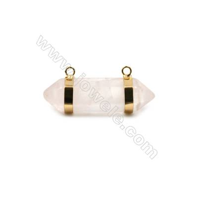 Natural Rose Quartz with Brass Plated Gold Connectors, Bullet(Faceted), Size 42~47x13~15mm, Hole 2mm, 4pcs/pack