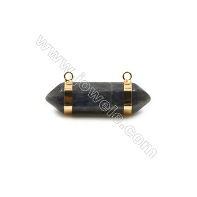 Natural Labradorite with Brass Plated Gold Connectors, Bullet(Faceted), Size 42~47x13~15mm, Hole 2mm, 4pcs/pack