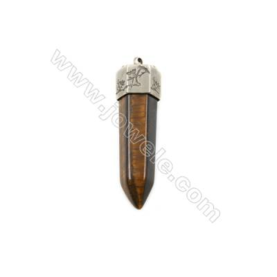 Natural Tiger's eye Gemstone Big Pendants with Platinum Brass, Bullet(Faceted), Size 53~56x17~18mm, Hole 3.5mm, 4pcs/pack