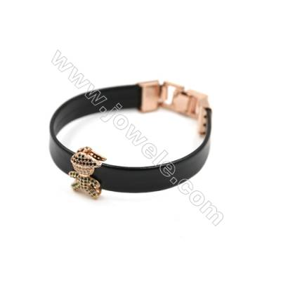 Black Leather Bracelet, with Brass Micro Pave Cubic Zirconia, Boy Charm, 200mm, Width 10mm, Charm 12x19mm, x1pc