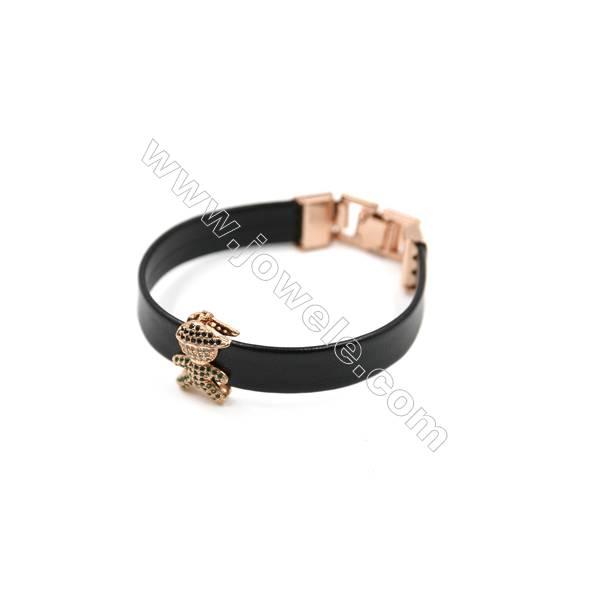 Black Leather Bracelet, with Brass Micro Pave Cubic Zirconia, Boy Charm, 200mm, Width 10mm, Charm 12x19mm, x1pc