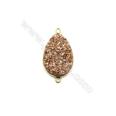 Waterdrop Electroplating Druzy Agate with Brass Plated Golden Connectors, Size 22x40mm, Hole 2mm, 4pcs/pack