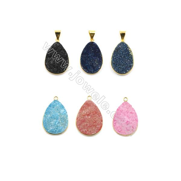Waterdrop Electroplating Druzy Agate with Brass Plated Golden Pendants, Size 23x35mm, 6pcs/pack