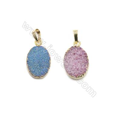 Oval Electroplating Druzy Agate with Brass Plated Golden Pendants, Size 15x25mm, 9pcs/pack