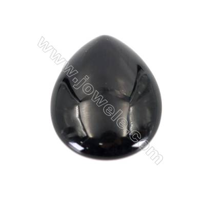 Natural Gemstone Cabochons  Black Agate  Teardrop   size 22.5x30mm x10pcs/pack