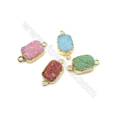 Rectangle Electroplating Druzy Agate with Brass Plated Golden Connectors, Size 10x22mm, Hole 1.5mm, 9pcs/pack