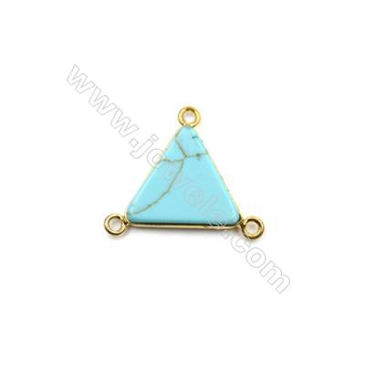 Synthesis Turquoise with Brass Plated Gold Connectors  Triangle  Size 21x23mm  Hole 1.5mm  9pcs/pack