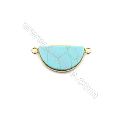 Synthesis Turquoise with Brass Plated Gold Connectors  Semicircle  Size 22x39mm  Hole 1.5mm  6pcs/pack
