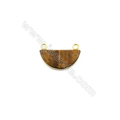 Natural Tiger's eye with Brass Plated Gold Connectors  Semicircle  Size 22x39mm  Hole 1.5mm  6pcs/pack