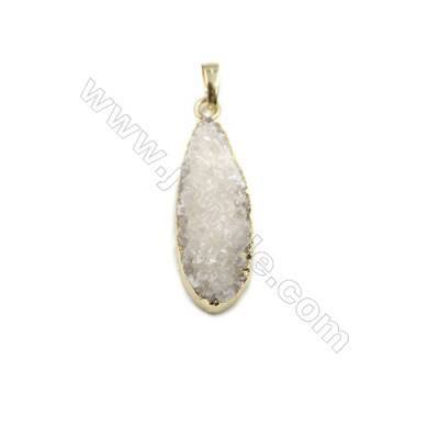 Waterdrop Electroplating Druzy Agate with Brass Plated Golden Pendants, Size 14x39mm, 7pcs/pack