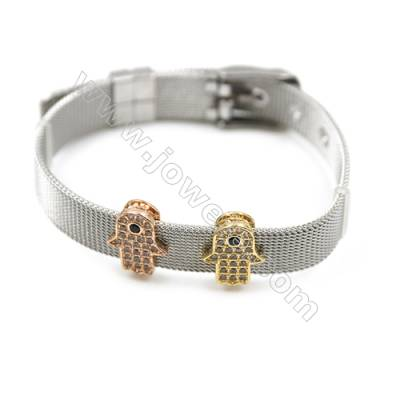 304 Stainless Steel Mesh Bracelets, Watchband, Silver, with Brass Micro Pave Cubic Zirconia Charm, 210mm, Width 10mm