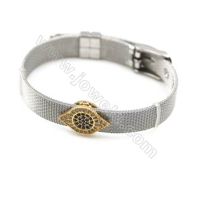 304 Stainless Steel Mesh Bracelets, Watchband, Silver, with Brass Micro Pave Cubic Zirconia Eyes Charm, 210mm, Width 10mm