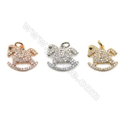 Brass Micro Pave Cubic Zirconia Pendants  Trojan  (Gold  White Gold  Rose Gold) Plated  Size 15x16 16mm  x14pcs/pack