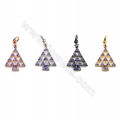 Brass Pave Cubic Zirconia Pendants  Christmas tree  Size 14x17mm  x20pcs/pack  (Gold  White Gold  Rose Gold  Gun Black) Plated