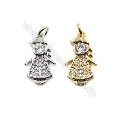 Brass Micro Pave Cubic Zirconia Pendants  Little Girl  (Gold  White Gold) Plated  Size 10x18mm  x30pcs/pack
