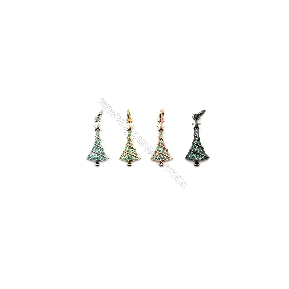 Brass Pave Cubic Zirconia Pendants  Christmas tree  Size 9x20mm  x20pcs/pack  (Gold  White Gold  Rose Gold  Gun Black) Plated