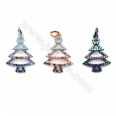 Brass Micro Pave Cubic Zirconia Pendants  Christmas tree  (White Gold  Rose Gold  Gun Black) Plated  Size 14x19mm  x14pcs/pack
