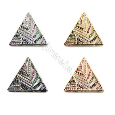 Brass Pave Cubic Zirconia Charms  Triangle  Hole 1.5mm  Size 22x22mm  x10pcs/pack  (Gold White Gold Rose Gold Gun Black) Plated
