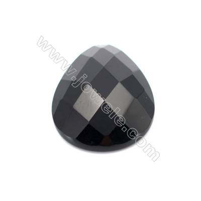 Natural Gemstone Cabochons  Faceted Black Agate  Teardrop   size 18x25mm x10pcs/pack