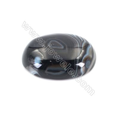 Natural Striped Black Agate Cabochons  Oval  Size 15x20mm x30pcs/pack