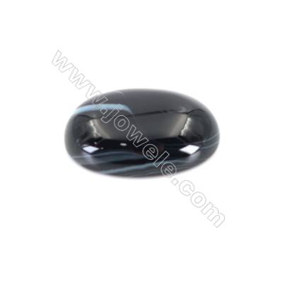 Natural Striped Black Agate Cabochons  Oval  Size 13x18mm x30pcs/pack