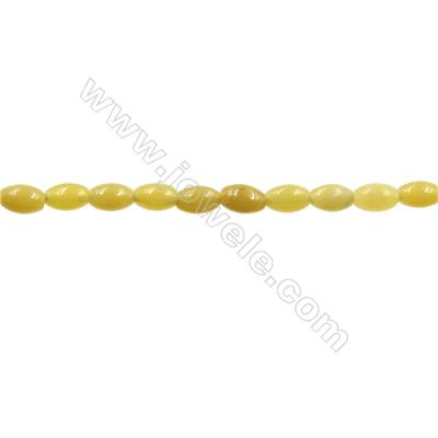 "Natural Olive Jade Bead Strands  Rice  Size 5x8mm  Hole 1mm  15~16""x1strand"