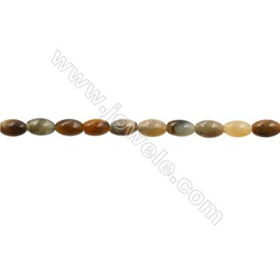 """Natural Flower Jade Bead Strands  Rice  Size 5x9mm  Hole 0.8mm  15~16""""x1strand"""