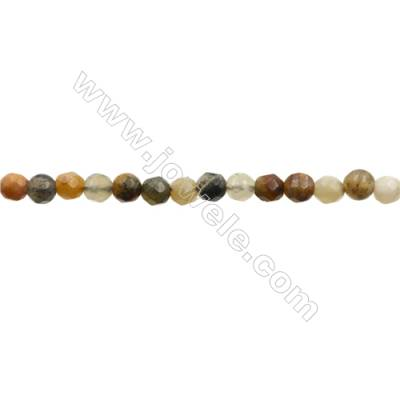 "Natural Flower Jade Bead Strands  Round(Faceted)  Diameter 4mm  Hole 0.7mm  15~16""x1strand"