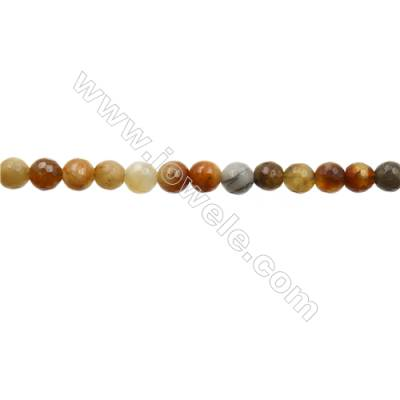 """Natural Flower Jade Bead Strands  Round(Faceted)  Diameter 6mm  Hole 1mm  15~16""""x1strand"""