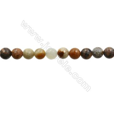 """Natural Flower Jade Bead Strands  Round(Faceted)  Diameter 10mm  Hole 1mm  15~16""""x1strand"""