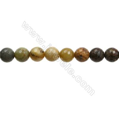 "Natural Flower Jade Bead Strands  Round(Faceted)  Diameter 12mm  Hole 1mm  15~16""x1strand"