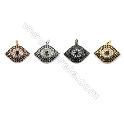 Brass Micro Pave Cubic Zirconia Pendants  Eyes  (Gold  White Gold  Rose Gold  Gun Black) Plated  Size 16x21mm  x12pcs/pack