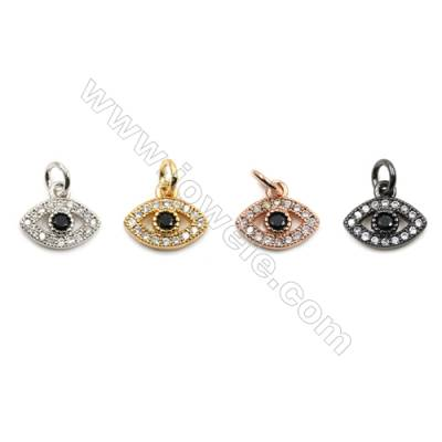 Brass Micro Pave Cubic Zirconia Pendants, Eyes, Size 9x11mm, x30pcs/pack