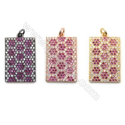 Brass Micro Pave Cubic Zirconia Pendants  Rectangle  (Gold  Rose Gold  Gun Black) Plated  Size 16x25mm  x6pcs/pack