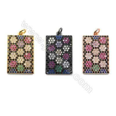 Brass Micro Pave Cubic Zirconia Pendants  Rectangle  (Gold  Rose Gold  Gun Black) Plated  Size 16x25mm  x4pcs/pack